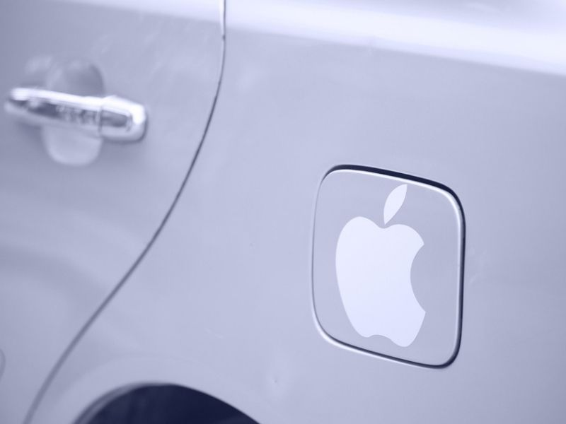 Apple logo on a car fuel cell flap